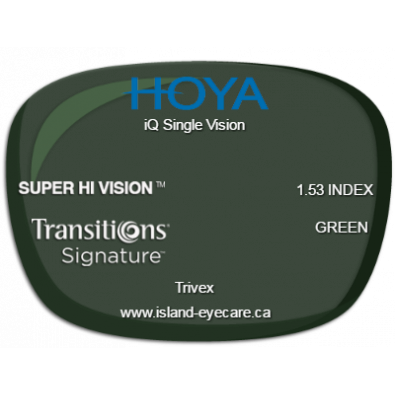 Hoya iQ Single Vision Trivex Super Hi Vision Transitions Signature - Green