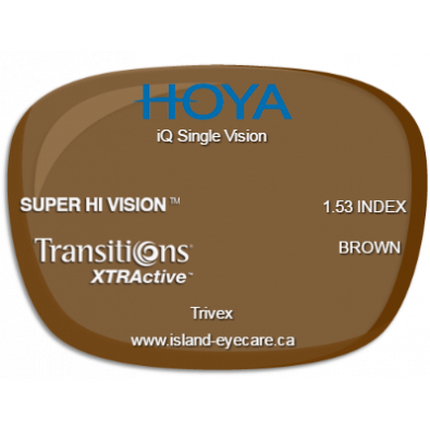 Hoya iQ Single Vision Trivex Super Hi Vision Transitions XTRActive - Brown