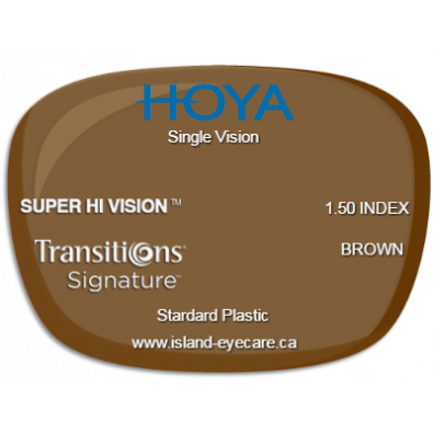 Hoya Single Vision 1.50 Super Hi Vision Transitions Signature - Brown