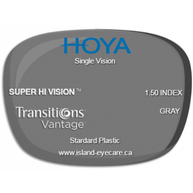 Hoya Single Vision 1.50 Super Hi Vision Transitions Vantage - Gray