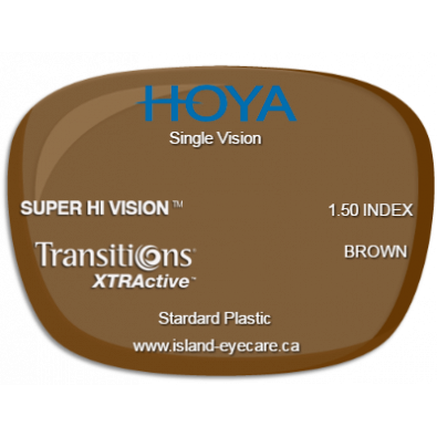 Hoya Single Vision 1.50 Super Hi Vision Transitions XTRActive - Brown