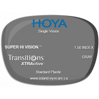 Hoya Single Vision 1.50 Super Hi Vision Transitions XTRActive - Gray