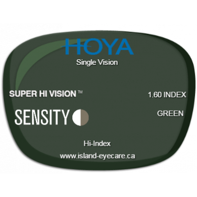 Hoya Single Vision 1.60 Super Hi Vision Sensity - Green