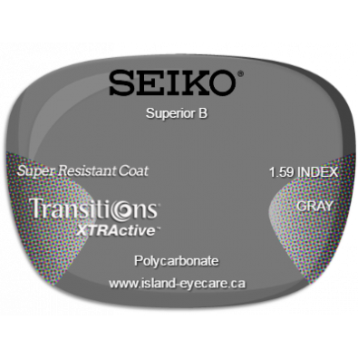 Seiko Superior B 1.59 Super Resistant Coat Transitions XTRActive - Gray