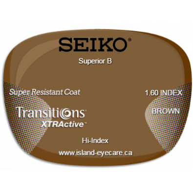 Seiko Superior B 1.60 Super Resistant Coat Transitions XTRActive - Brown
