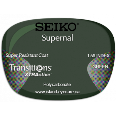 Seiko Supernal 1.59 Super Resistant Coat Transitions XTRActive - Green