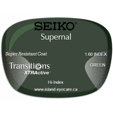 Seiko Supernal 1.60 Super Resistant Coat Transitions XTRActive - Green