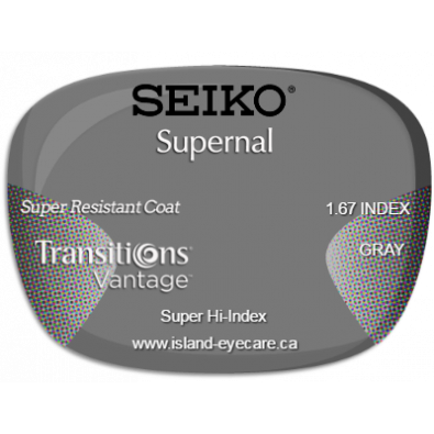 Seiko Supernal 1.67 Super Resistant Coat Transitions Vantage - Gray