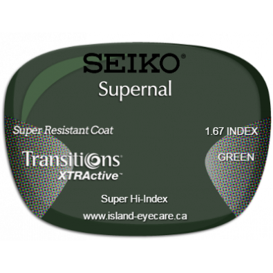 Seiko Supernal 1.67 Super Resistant Coat Transitions XTRActive - Green