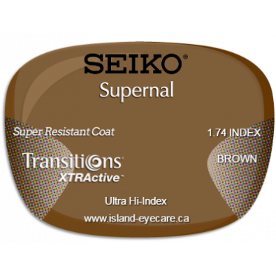 Seiko Supernal 1.74 Super Resistant Coat Transitions XTRActive - Brown