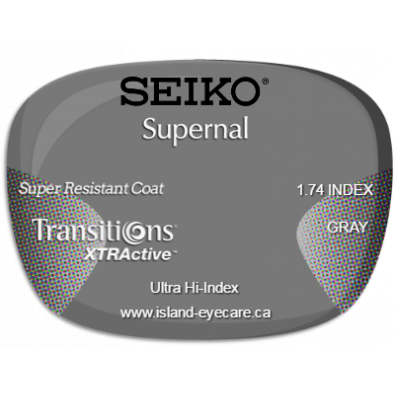 Seiko Supernal 1.74 Super Resistant Coat Transitions XTRActive - Gray