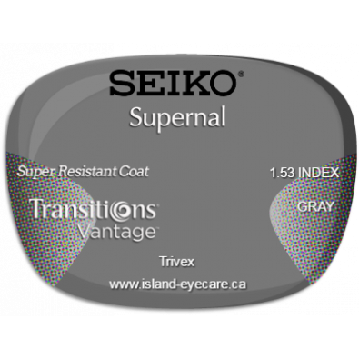Seiko Supernal Trivex Super Resistant Coat Transitions Vantage - Gray