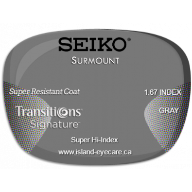 Seiko Surmount 1.67 Super Resistant Coat Transitions Signature - Gray