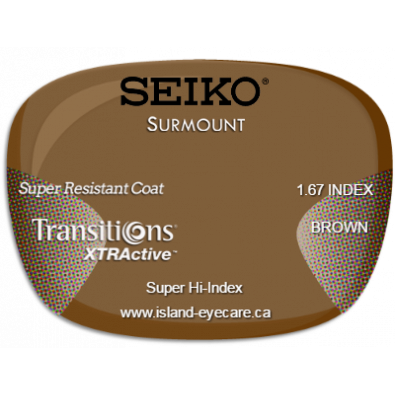 Seiko Surmount 1.67 Super Resistant Coat Transitions XTRActive - Brown