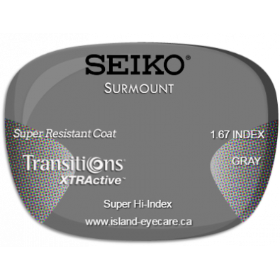 Seiko Surmount 1.67 Super Resistant Coat Transitions XTRActive - Gray