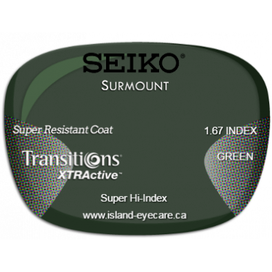 Seiko Surmount 1.67 Super Resistant Coat Transitions XTRActive - Green