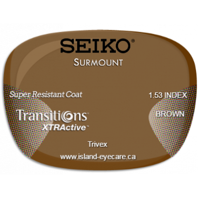Seiko Surmount Trivex Super Resistant Coat Transitions XTRActive - Brown