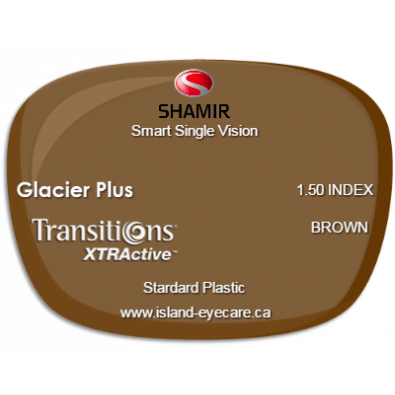 Shamir Smart Single Vision 1.50 Glacier Plus Transitions XTRActive - Brown