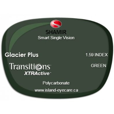 Shamir Smart Single Vision 1.59 Glacier Plus Transitions XTRActive - Green