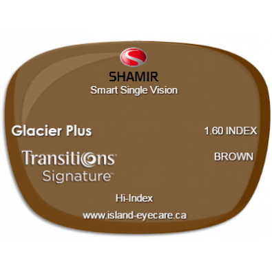 Shamir Smart Single Vision 1.60 Glacier Plus Transitions Signature - Brown