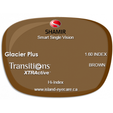 Shamir Smart Single Vision 1.60 Glacier Plus Transitions XTRActive - Brown