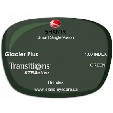 Shamir Smart Single Vision 1.60 Glacier Plus Transitions XTRActive - Green