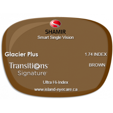 Shamir Smart Single Vision 1.74 Glacier Plus Transitions Signature - Brown