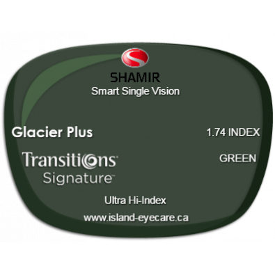 Shamir Smart Single Vision 1.74 Glacier Plus Transitions Signature - Green