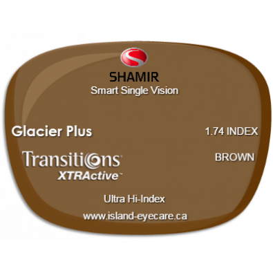 Shamir Smart Single Vision 1.74 Glacier Plus Transitions XTRActive - Brown
