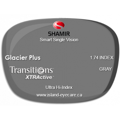 Shamir Smart Single Vision 1.74 Glacier Plus Transitions XTRActive - Gray