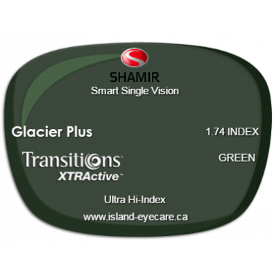 Shamir Smart Single Vision 1.74 Glacier Plus Transitions XTRActive - Green