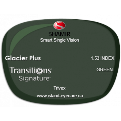 Shamir Smart Single Vision Trivex Glacier Plus Transitions Signature - Green