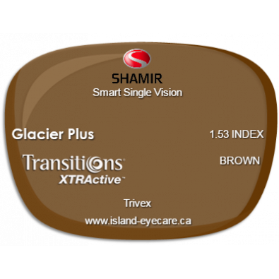 Shamir Smart Single Vision Trivex Glacier Plus Transitions XTRActive - Brown