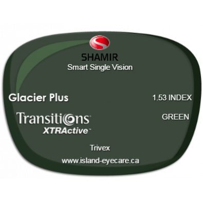 Shamir Smart Single Vision Trivex Glacier Plus Transitions XTRActive - Green