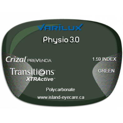Varilux Physio 3.0 1.59 Crizal Prevencia Transitions XTRActive - Green