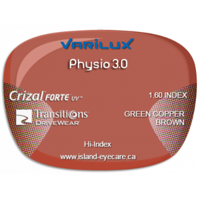 Varilux Physio 3.0 1.60 Crizal Forte UV Transitions Drivewear  - Green Copper Brown