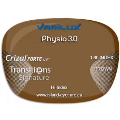 Varilux Physio 3.0 1.60 Crizal Forte UV Transitions Signature - Brown