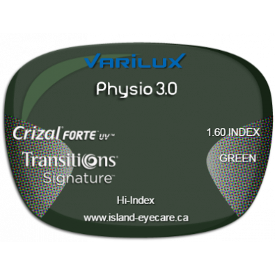 Varilux Physio 3.0 1.60 Crizal Forte UV Transitions Signature - Green