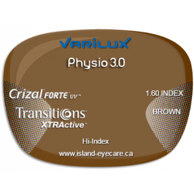 Varilux Physio 3.0 1.60 Crizal Forte UV Transitions XTRActive - Brown