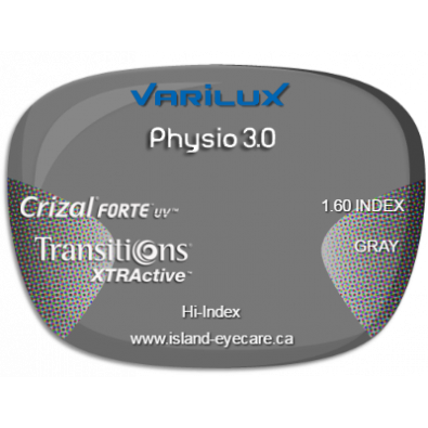 Varilux Physio 3.0 1.60 Crizal Forte UV Transitions XTRActive - Gray