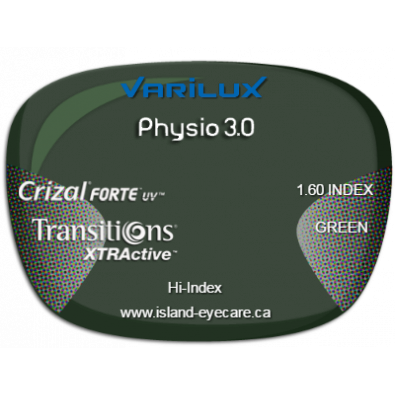 Varilux Physio 3.0 1.60 Crizal Forte UV Transitions XTRActive - Green