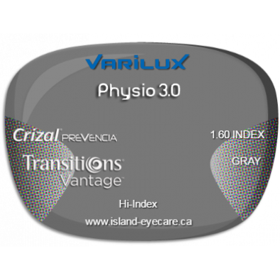 Varilux Physio 3.0 1.60 Crizal Prevencia Transitions Vantage - Gray