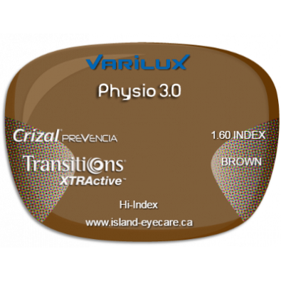 Varilux Physio 3.0 1.60 Crizal Prevencia Transitions XTRActive - Brown