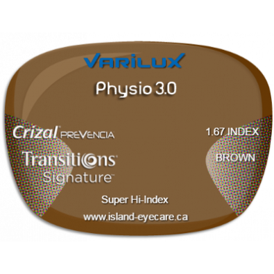 Varilux Physio 3.0 1.67 Crizal Prevencia Transitions Signature - Brown