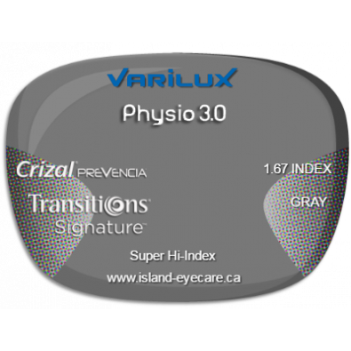 Varilux Physio 3.0 1.67 Crizal Prevencia Transitions Signature - Gray