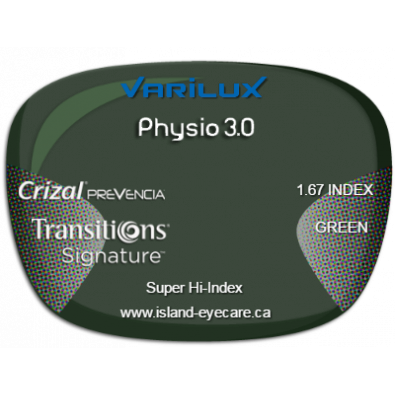 Varilux Physio 3.0 1.67 Crizal Prevencia Transitions Signature - Green