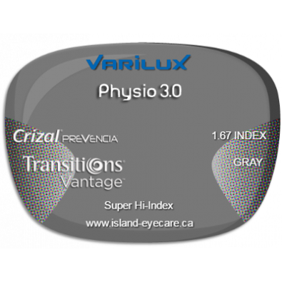 Varilux Physio 3.0 1.67 Crizal Prevencia Transitions Vantage - Gray