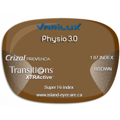 Varilux Physio 3.0 1.67 Crizal Prevencia Transitions XTRActive - Brown