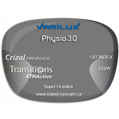 Varilux Physio 3.0 1.67 Crizal Prevencia Transitions XTRActive - Gray