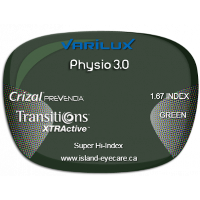 Varilux Physio 3.0 1.67 Crizal Prevencia Transitions XTRActive - Green